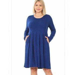 Blue Long Sleeve Pocket Pleated Mini Dress
